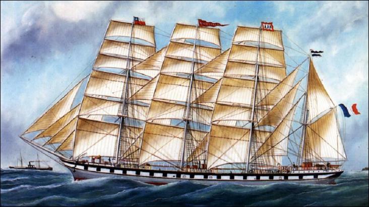 Le Persévérance quatre-mâts barque à dunette et gaillards courts