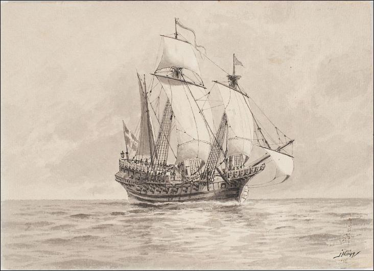 La Dauphine est le nom porté par une caraque à trois-mâts